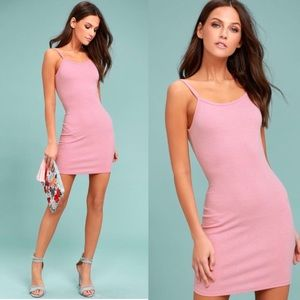 Lulus pink bodycon ribbed dress